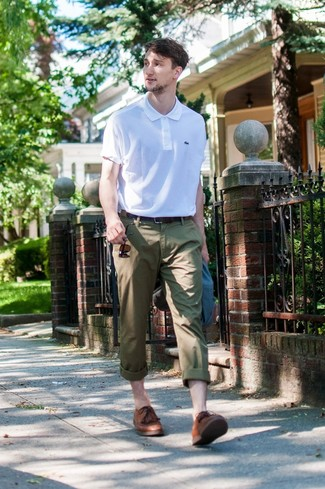 How to wear: brown leather derby shoes, olive chinos, white polo, navy blazer