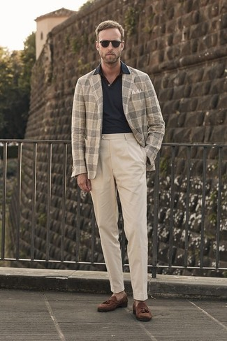 How to wear: brown suede tassel loafers, beige chinos, black polo, beige plaid wool blazer