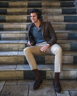 How to wear: dark brown suede tassel loafers, beige chinos, navy polo, dark brown check blazer