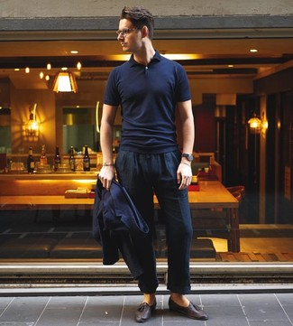 How to wear: dark brown leather tassel loafers, navy linen chinos, navy polo, navy blazer