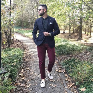How to wear: white leather tassel loafers, burgundy chinos, black polo, navy check blazer