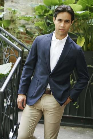How to wear: dark brown leather belt, khaki chinos, white polo, navy blazer