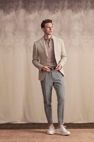 How to Wear a Beige Blazer For Men: For an effortlessly classic outfit, pair a beige blazer with grey check chinos — these items play perfectly well together. When this ensemble is too much, tone it down with white leather low top sneakers.