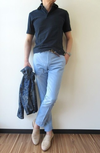 How to wear: beige suede loafers, light blue chinos, black polo, navy print cardigan