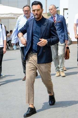 How to Wear Khaki Chinos: Consider wearing a navy double breasted blazer and khaki chinos to create a casually refined and modern-looking ensemble. A pair of black leather brogues can integrate smoothly within a great deal of looks.