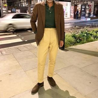 How to wear: dark brown suede loafers, yellow chinos, dark green polo neck sweater, brown blazer