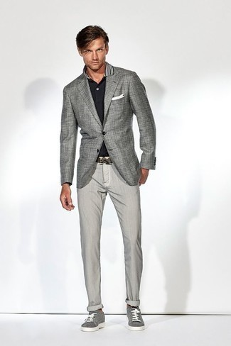How to Wear Grey Canvas Low Top Sneakers For Men: If the occasion calls for a casually sleek outfit, you can always rely on a grey check blazer and grey chinos. Puzzled as to how to finish? Complete your ensemble with grey canvas low top sneakers for a more laid-back aesthetic.
