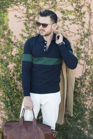 How to wear: dark brown leather duffle bag, white chinos, navy and green horizontal striped polo, beige overcoat