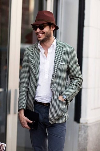 How to Wear a Black and White Gingham Blazer For Men: You'll be surprised at how very easy it is for any guy to pull together this casually sleek look. Just a black and white gingham blazer and navy chinos.
