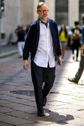 How to Wear Black Leather Derby Shoes: For a casual and cool getup, pair a navy bomber jacket with charcoal chinos — these items fit brilliantly together. You could go down a more classic route on the shoe front by finishing off with black leather derby shoes.