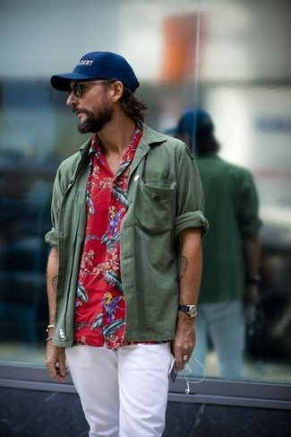 How to wear: navy print baseball cap, white chinos, red floral short sleeve shirt, olive long sleeve shirt