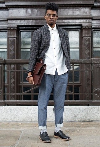 How to Wear a Brown Leather Briefcase: A charcoal open cardigan and a brown leather briefcase will add extra cool to your casual styling routine. For something more on the elegant side to finish this ensemble, introduce a pair of black leather derby shoes to your outfit.