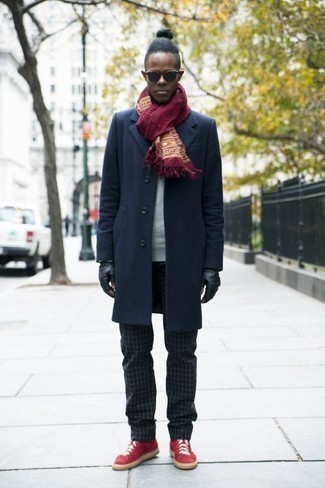 How to Wear a Grey Sweatshirt For Men: A grey sweatshirt and black check chinos are the kind of a tested casual look that you so desperately need when you have no time. We love how a pair of red canvas low top sneakers makes this outfit complete. Now that's an ensemble that will surely make you stand out among your peers.