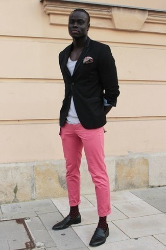 How to Wear Black Leather Loafers For Men: A black blazer and hot pink chinos are fitting for both smart casual occasions and day-to-day wear. Play down the casualness of your getup by slipping into black leather loafers.