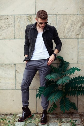 How to wear: black leather chelsea boots, grey chinos, white tank, black denim jacket
