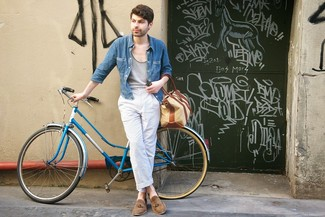 How to wear: brown suede tassel loafers, white and blue vertical striped chinos, grey tank, blue denim shirt