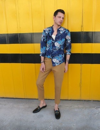 How to wear: black leather loafers, khaki chinos, white tank, blue floral long sleeve shirt