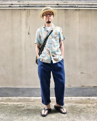 How to wear: black flip flops, navy chinos, white tank, light blue floral short sleeve shirt