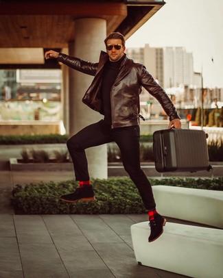 How to wear: black suede desert boots, black chinos, black turtleneck, dark brown leather biker jacket
