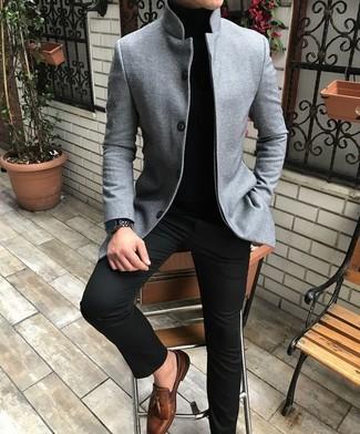 How to wear: brown leather tassel loafers, black chinos, black turtleneck, grey wool blazer