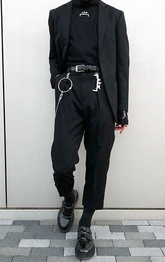 How to wear: black leather double monks, black chinos, black turtleneck, black blazer