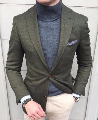 How to wear: grey pocket square, beige chinos, grey turtleneck, olive wool blazer