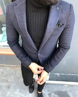 How to wear: black leather desert boots, black chinos, black turtleneck, navy blazer