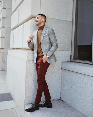 How to wear: dark brown leather derby shoes, burgundy chinos, brown turtleneck, grey plaid blazer