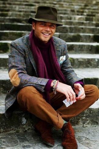 How to wear: tobacco suede desert boots, tobacco chinos, purple turtleneck, navy plaid wool blazer
