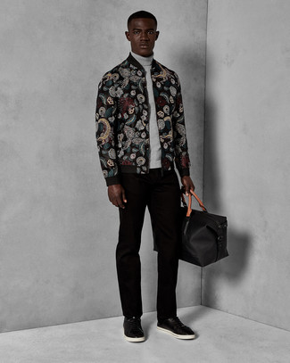 Men's Looks & Outfits: What To Wear In 2020: A black embroidered bomber jacket and black corduroy chinos? It's easily a wearable outfit that you can work on a daily basis. When it comes to shoes, this getup is complemented perfectly with black leather low top sneakers.