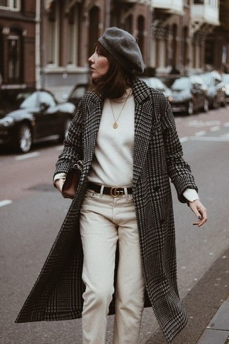 How to wear: dark brown leather clutch, beige chinos, white turtleneck, black and white houndstooth coat
