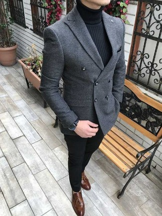 How to wear: brown leather tassel loafers, black chinos, black turtleneck, grey wool double breasted blazer
