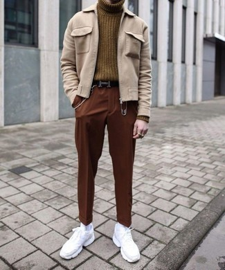 How to Wear White Athletic Shoes For Men: A beige harrington jacket and tobacco chinos? This is an easy-to-create outfit that any gent could rock a version of on a daily basis. Round off your ensemble with a pair of white athletic shoes for an on-trend hi/low mix.