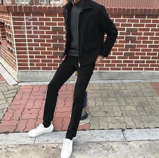 How to Wear a Black Harrington Jacket: If you gravitate towards laid-back looks, why not rock a black harrington jacket with black chinos? Introduce a pair of white leather low top sneakers to your getup to easily boost the cool of this ensemble.