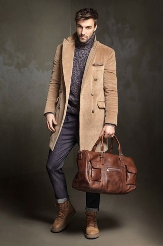 How to wear: tan leather work boots, charcoal chinos, charcoal knit turtleneck, camel overcoat