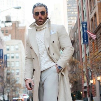How to wear: white pocket square, beige chinos, white knit turtleneck, beige overcoat