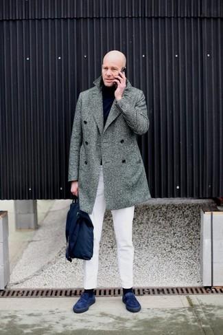 How to wear: navy suede loafers, white chinos, black turtleneck, grey herringbone overcoat