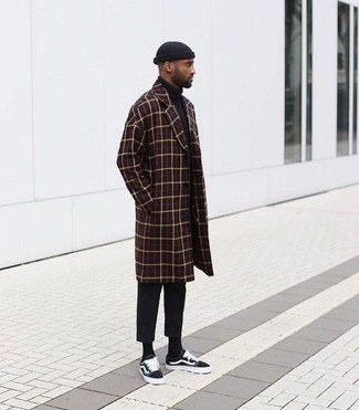 How to wear: black canvas low top sneakers, black chinos, black turtleneck, burgundy check overcoat