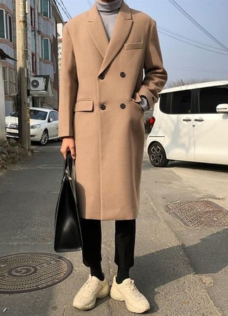How to wear: beige athletic shoes, black chinos, grey turtleneck, camel overcoat