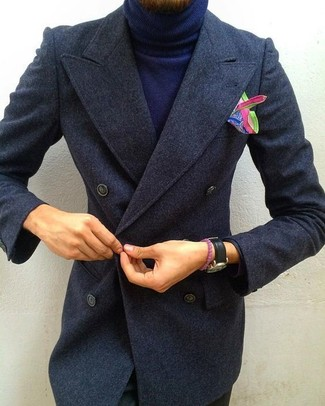 How to wear: multi colored print pocket square, black chinos, navy turtleneck, charcoal overcoat
