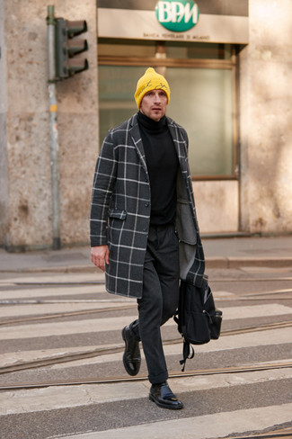 How to Wear a Black Turtleneck For Men: You're looking at the definitive proof that a black turtleneck and charcoal wool chinos look awesome when matched together in a laid-back menswear style. And if you want to instantly kick up this ensemble with a pair of shoes, introduce black leather chelsea boots to the mix.