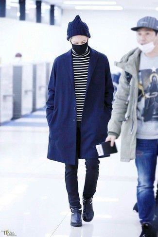 How to Wear a Navy Overcoat: Such staples as a navy overcoat and navy chinos are the ideal way to introduce extra elegance into your day-to-day repertoire. Hesitant about how to complement your look? Rock navy leather chelsea boots to boost the wow factor.