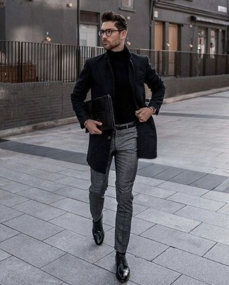 How to Wear a Dark Brown Leather Watch In Cold Weather For Men: This pairing of a black overcoat and a dark brown leather watch is super easy to put together and so comfortable to rock as well! Black leather derby shoes will immediately spruce up even your most comfortable clothes.