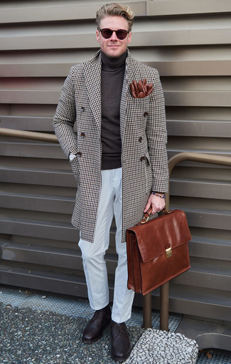 How to Wear a Brown Leather Briefcase: If you appreciate relaxed dressing, wear a brown check overcoat and a brown leather briefcase. Dark purple leather brogues bring a sophisticated aesthetic to the ensemble.