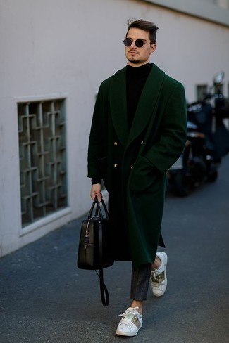 How to Wear White Print Leather Low Top Sneakers For Men: A dark green overcoat and charcoal chinos are an easy way to infuse some masculine refinement into your daily collection. If you wish to easily dress down your outfit with one item, why not add a pair of white print leather low top sneakers?
