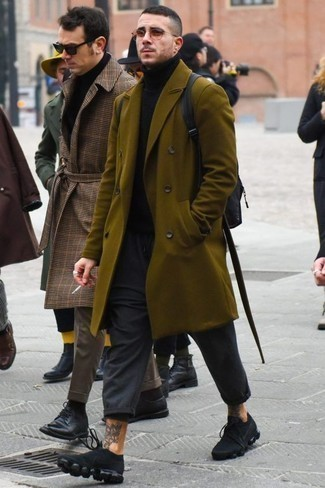 How to Wear Black Athletic Shoes For Men: This combo of an olive overcoat and charcoal chinos is a must-try effortlessly classic getup for any man. Why not add black athletic shoes to the equation for a hint of stylish effortlessness?