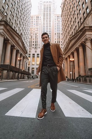 How to Wear Brown Leather Brogues: This smart casual pairing of a camel overcoat and charcoal chinos is extremely easy to put together without a second thought, helping you look awesome and prepared for anything without spending a ton of time digging through your wardrobe. Introduce brown leather brogues to the mix to completely switch up the getup.