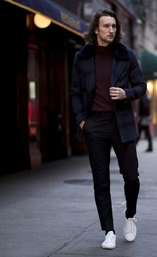 How to wear: white canvas low top sneakers, black chinos, burgundy turtleneck, navy pea coat