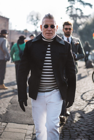 How to wear: black leather gloves, white chinos, white and black horizontal striped turtleneck, black pea coat