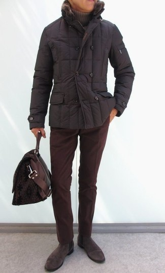 How to wear: dark brown suede chelsea boots, burgundy corduroy chinos, brown turtleneck, dark brown puffer jacket